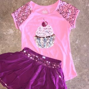 Justice • cupcake sequin shirt/skirt size 10 girls